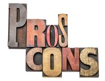Pros and cons word abstract in wood type Stock Photo