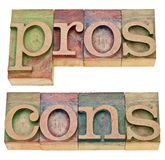 Pros and cons in letterpress type Royalty Free Stock Image