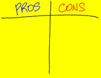 Pros / Cons List for Presentation Stock Images