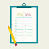 Pros and Cons list. Selection of the optimal solutions, weighing the facts. Clipboard and pencil. flat design Royalty Free Stock Photo