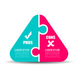 Pros and cons puzzle diagram. Template illustration isolated on white background Stock Images