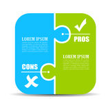 Pros and cons puzzle diagram Stock Photo