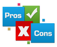 Pros And Cons Red Green Blue Squares Stock Photography