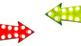 Pros and cons red and green leaf right vintage retro arrows illuminated with light bulbs. Concept image for risk benefit. Pros and cons red and green leaf right stock illustration