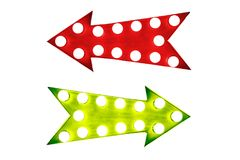 Pros and cons: red left and green right vintage retro arrows illuminated with light bulbs. Concept image for advantages and disadvantages, for and against Royalty Free Stock Photography