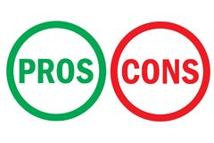 Pros and cons right wrong analysis red left green right word text on circle buttons in empty white background. Vector royalty free illustration