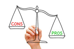 Pros Cons Scale Concept. Hand drawing Pros and Cons scale concept with marker on transparent wipe board isolated on white stock photo