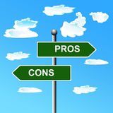 Pros cons street signs, comparing options, vector illustration Stock Photo