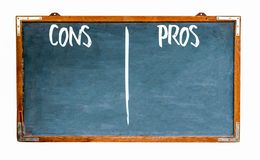 Pros and cons text words in white written on wide blue old grungy vintage wooden chalkboard retro blank blackboard. With frame isolated on white background royalty free stock photography