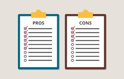 Pros and cons versus compare choice checklist in clipboard vector illustration