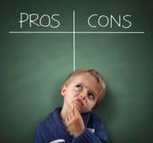 Pros - en - cons. op een bord Stock Afbeelding
