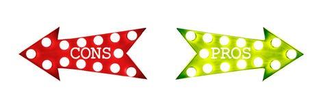 Pros - en - cons.: rode linker groene juiste uitstekende retro pijlen die met gloeilampen met tekst worden verlicht stock illustratie