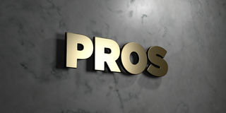 Pros - Gold sign mounted on glossy marble wall  - 3D rendered royalty free stock illustration Royalty Free Stock Images