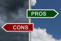 Pros versus Cons Stock Images