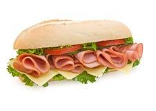 Prosciutto & panino secondario svizzero su priorità bassa bianca Immagini Stock Libere da Diritti