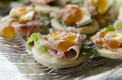 Prosciutto and Apricot Jam Appetizer Royalty Free Stock Photos