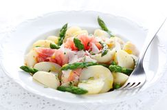 Prosciutto with asparagus and potatoes Royalty Free Stock Photo