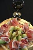 Prosciutto baleron i Cantalope melon zdjęcie royalty free
