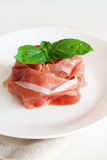 Prosciutto and basil Royalty Free Stock Image