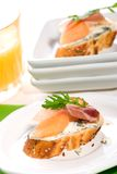 Prosciutto and blue cheese canapes Royalty Free Stock Photography