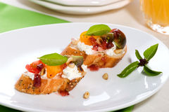 Prosciutto and blue cheese canapes Stock Photo