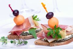 Prosciutto canapes Royalty Free Stock Images