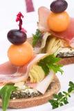 Prosciutto canapes stock image