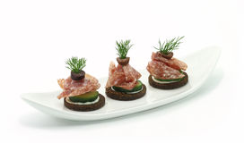 Prosciutto canapes Royalty Free Stock Photo