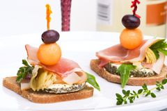 Prosciutto canapes Stock Images