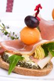 Prosciutto canapes royalty free stock image