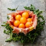 Prosciutto with Cantaloupe Melon balls Stock Images