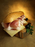 Prosciutto and cheese sandwich Royalty Free Stock Photos