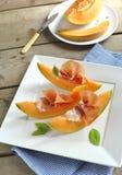 Prosciutto con el melón Fotografía de archivo