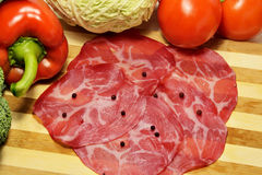 Prosciutto cortado italiano da carne de porco do coppa Imagem de Stock