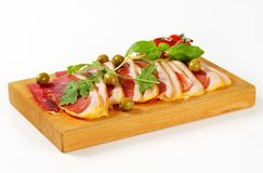 Prosciutto crudo and green olives Royalty Free Stock Images