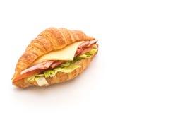 prosciutto del panino del croissant immagini stock libere da diritti