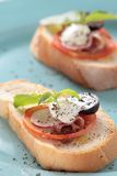 Prosciutto di Parma e formaggio bianco Fotografie Stock