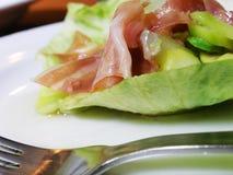 Prosciutto di Parma ed insalata dell'asparago Fotografie Stock