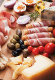Prosciutto di Parma and other italian food Royalty Free Stock Photo