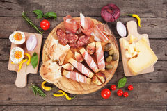 Prosciutto di Parma and other italian food Royalty Free Stock Images