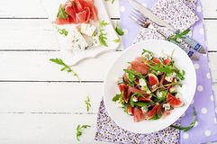 Prosciutto di Parma salad with figs and blue cheese. Royalty Free Stock Image