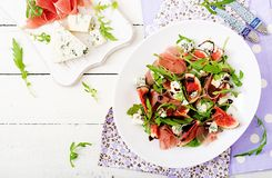 Prosciutto di Parma salad with figs and blue cheese Royalty Free Stock Images