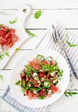 Prosciutto di Parma salad with figs and blue cheese. Royalty Free Stock Photos