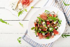 Prosciutto di Parma salad with figs and blue cheese. Stock Image