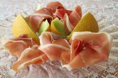 Prosciutto di Serrano e melone di Galia Fotografie Stock Libere da Diritti
