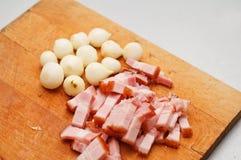 Prosciutto e cipolle Fotografia Stock