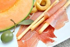 Prosciutto e melone dell'aperitivo Fotografia Stock Libera da Diritti