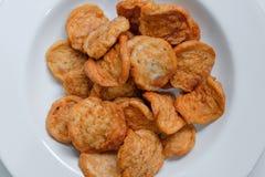 Prosciutto e verdura della carne di maiale di Fried Vietnamese sul piatto bianco fotografia stock