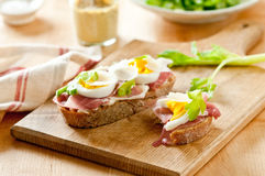 Prosciutto Egg Sandwiches Royalty Free Stock Photography
