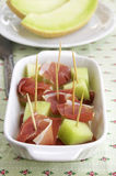 Prosciutto en meloen Stock Afbeelding